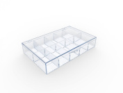 Clear 10 Compartment Hinged Plastic Box - 8 Boxes Per Pack
