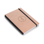 Bespoke Monogrammed Craft Paper Notebook, Journal or Diary with Elastic Band - Personalised Gift with Free Custom Engraving - Present Idea for Students, Writers, Diarists, Artists, and Teachers.
