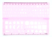 Lettering Stencil Ruler Foldable, Pink