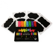 Chalk-O-Lots Liquid Chalk Markers, Set of 8 Bright Bold Colours + 8 FREE Chalkboard Labels -Reversible 6mm Tips