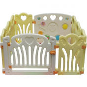 Kiddygem Angel Wings and Hearts Baby 10 Panels Playpen, Yellow