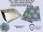 ShieldPro 60+60SG (60) 3.8l Genuine Mylar Bag + (60) 300cc Oxyfree Oxygen Absorbers (In Packs of 20) for Long Term Food Storage