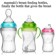 Silicone baby bottles, set of 3anti-colic baby bottles, 100% BPA free new premium silicone medical grade quality. Masmuki's breast feeding bottles are finally the bottles that give the breast.