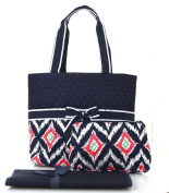 NGIL Navy Ikat Print Quilted Nappy Bag