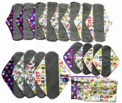 20pcs Set 4pc Mini Wet Bag + 16pcs Charcoal Bamboo Mama Cloth/ Menstrual Pads/ Reusable Sanitary Pads - Minky Pattern