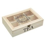Wooden Tea Storage Box Windowed - 26x17x6cm