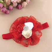 Itaar Baby Girl Flower Headband Lace Lovely Infant Hair Baby Accessories Red