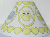 Grey and Yellow Baby Safari Lamp Shade with Elephants, Owl, Zebra, Giraffe, Hippo, Lion and Monkey Nursery Decor