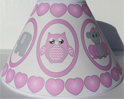 Pink Baby Safari Lamp Shade with Elephants, Owl, Zebra, Giraffe, Hippo, Lion and Monkey Nursery Decor