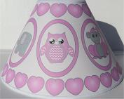 Pink Baby Safari Lamp Shade with Elephants, Owl, Zebra, Giraffe, Hippo, Lion and Monkey Nursery Decor