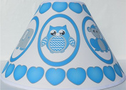 Blue Baby Safari Lamp Shade with Elephants, Owl, Zebra, Giraffe, Hippo, Lion and Monkey Nursery Decor