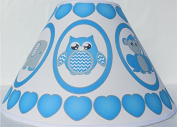 Blue Baby Safari Lamp Shade with Elephants, Owl, Zebra, Giraffe, Hippo, Lion and Monkey Nursery Decor
