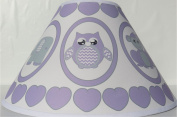 Purple Baby Safari Lamp Shade with Elephants, Owl, Zebra, Giraffe, Hippo, Lion and Monkey Nursery Decor