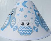 Blue Owl Lamp Shade / Children's Blue Owl Nursery Room Decor