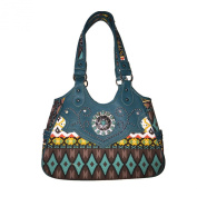 Aztec Rhinestone Concho Concealed Carry Handbag with Texas West Coin Collection in 3 Colours
