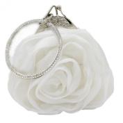 Kingluck Satin Silk Flower Evening Handbags Clutches with Diamond Hand Ring