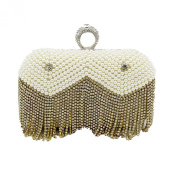 Kingluck Women's Pearl Diamond Tassel Party/Evening cluth Bag In two colour