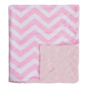 Bonne Nuit Super Soft Chevron Baby Blanket, Pink