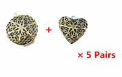 Blovess 10pcs Bronze Round and Heart Shape Plated Photo Locket Frame Pendants