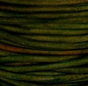 "#408 Natural Dark Green Round Leather Cord 3mm (1/8"") x 10 metres"
