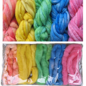 Living Dreams Pastels Colour Sampler, Hand Dyed Felting Wool Roving Fibre for Needle -, Soap - and Wet Felting, 5 Colours