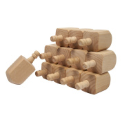 Wooden Dreidels 6.4cm , Unfinished Natural Wood Dreidels - Bag of 12