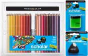 Prismacolor Scholar Coloured Pencil and Accessory Set, Set of 60 Scholar Coloured Pencils, One Scholar Coloured Pencil Sharpener, and One Scholar Eraser