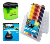 Prismacolor Scholar Coloured Pencil and Accesory Set, Set of 24 Scholar Coloured Pencils, 1 Scholar Eraser, and 1 Scholar Pencil Sharpener