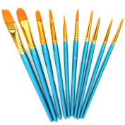 Paint Brush Set Acrylic Xpassion 10pcs Professional Paint Brushes Artist for Watercolour Oil Acrylic Painting
