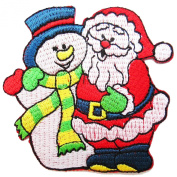 Santa Claus and Snowman Iron on Patches