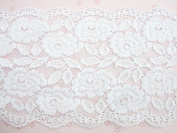4 yards Elastic/Spandex White Soft Floral Lace 15cm Wide (T101-White) US Seller Ship Fast