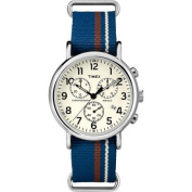 Timex Unisex Weekender Forty Chrono Watch, Blue/Cream/Brown Striped Slip-Thru Nylon Strap