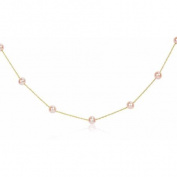 5-6mm Pink Cultured Freshwater Pearl 14kt Yellow Gold Station Necklace, 17""