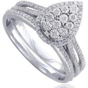1/4 Carat T.W White Diamond Sterling Silver Bridal Set, Size 5