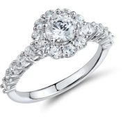 2.75 T.G.W. Round White Cubic Zirconia Halo Engagement Ring in Sterling Silver