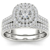 Imperial 1 Carat T.W. Diamond Double Halo 10kt White Gold Engagement Ring Set