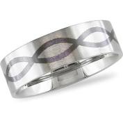 Stainless Steel Men's Ring with Black Enamel