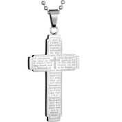 Polished Stainless Steel English Lord's Prayer Cross Necklace