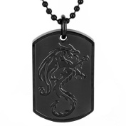 Men's Black-Plated Stainless Steel Dragon Dog Tag Pendant Necklace