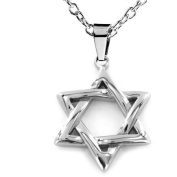 "ELYA Stainless Steel ""Star of David"" Pendant, 50cm Ball Chain"