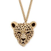 PalmBeach Jewellery Onyx and Crystal Leopard Pendant Necklace in Yellow Gold Tone