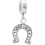 """Connexions from Hallmark Stainless Steel """"Good Luck"""" Horseshoe Dangle Charm"""