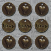 Vintage Metal Charms 9/Pkg-Bronze Love Heart Circle .15cm