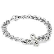 ELYA Stainless Steel Bracelet with Sideways Cross