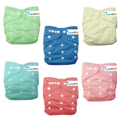 "Love My"" (Cinderella Colour)""baby Girl Washable Reusable Cloth Nappies,breathable, Adjustable Snap, 6 Nappies + 6 Inserts"