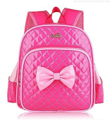 Children School Bag, OFEILY Children's bags Child Little girl Kid(2-7Years old) Backpack Schoolbag Shoulders bag Pu Leather Lunch bag Child Carrier Backpacks with Bowknot