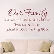 Our Family is a Circle of Strength and Love' -Custom Christian Wall Quote Religious Sticker Nursery Decal Wedding Decoration New Couple Gift