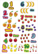 Kids Learning Fruits & Numbers Artwork Room Decor Wall Sticker Decal **38cm W X 60cm H**