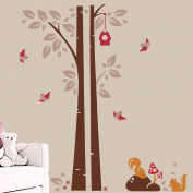 Nursery Tree Squirrel Wall Decals, Nursery Wall Stickers, Nursery Wall Decals