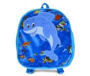 Puzzled Dolphin Kids Backpack, 28cm , Blue